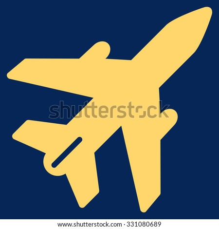 Airplane vector icon. Style is flat yellow symbol, rounded angles, blue background.