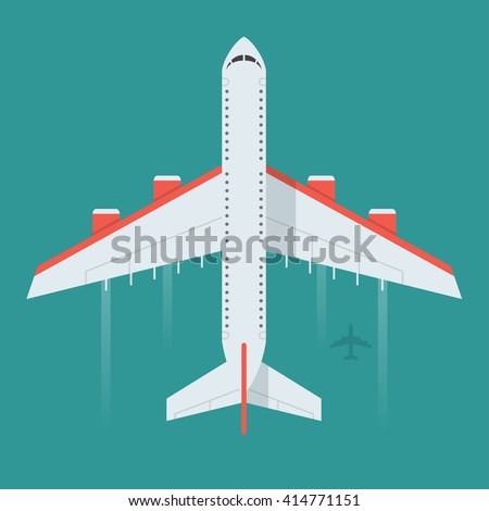 Airplane vector illustration. Flying an airplane with a shadow underneath. Airplane view from above isolated from the background. Airplane icon in a flat style. An airplane in the air concept. - stock vector