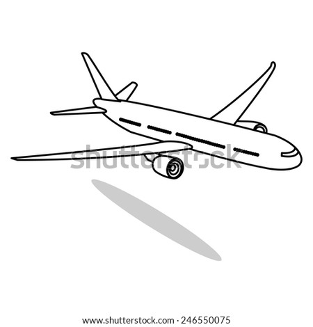 Airplane Vector Line Illustrator, - stock vector