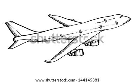 Airplane Vector Line Illustrator, EPS 10. - stock vector