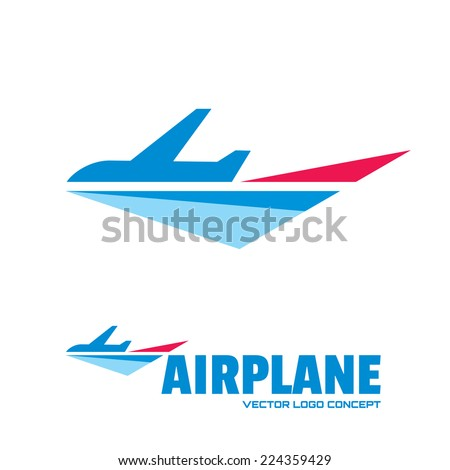 Airplane - vector logo concept. Aircraft illustration. Vector logo template. Minimal classic style. Airplane silhouette for transportation and travel company. Travel agency logo. Design elements.  - stock vector