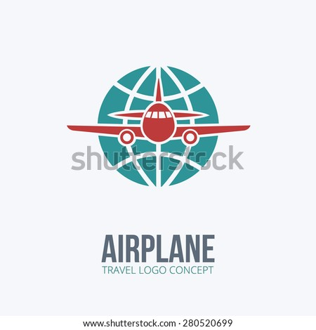 Airplane - vector logo concept. Vector Illustration. For Transportation or Travel company. - stock vector