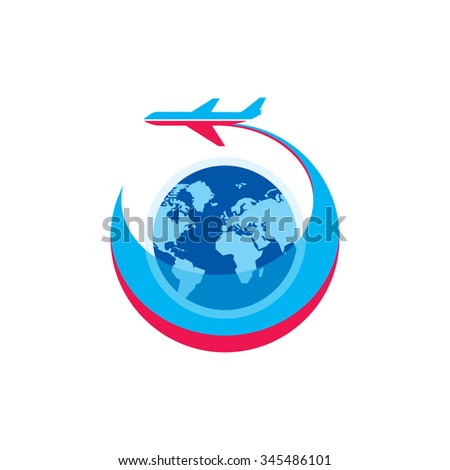 Airplane - vector logo sign concept illustration. Airplane silhouette, globe and stripes - vector illustration. Aircraft logo for transportation or travel company. Design elements. - stock vector