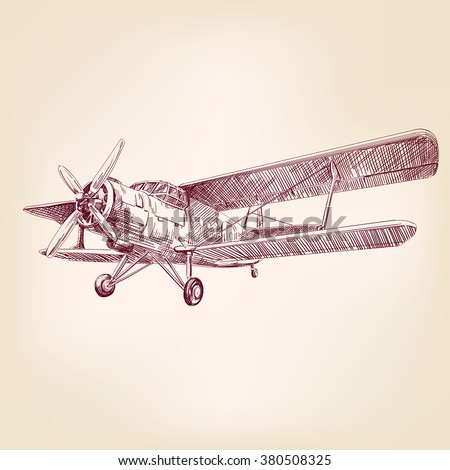 airplane vintage hand drawn vector llustration realistic sketch - stock vector