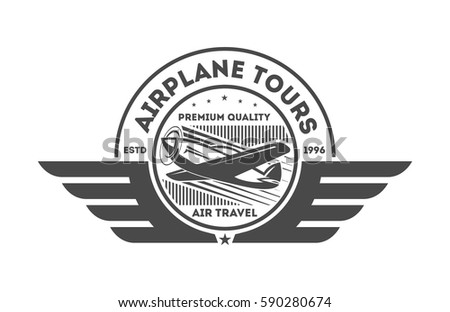 Airplane Vintage Isolated Label Vector Illustration Stock Vector