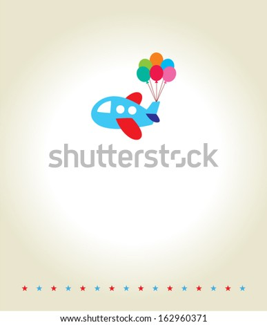 airplane with balloon - stock vector