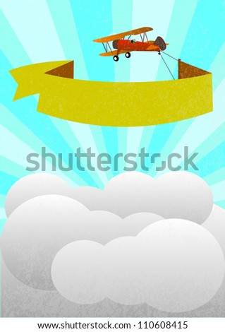 airplane with banner - stock vector