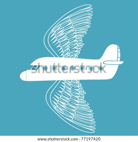 airplane with bird wings - stock vector