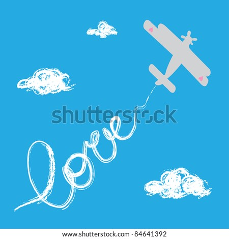 Airplane with love track in the sky - stock vector