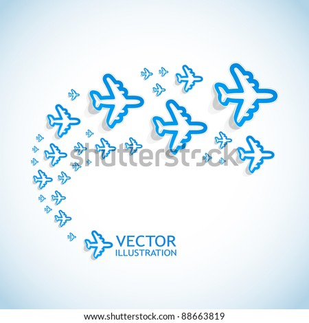 Airplanes. Abstract background. - stock vector