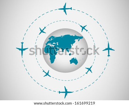Airplanes and globe - stock vector
