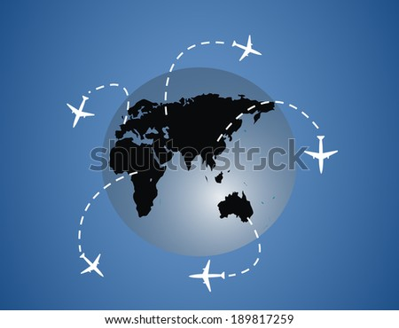 Airplanes around the globe lines - stock vector