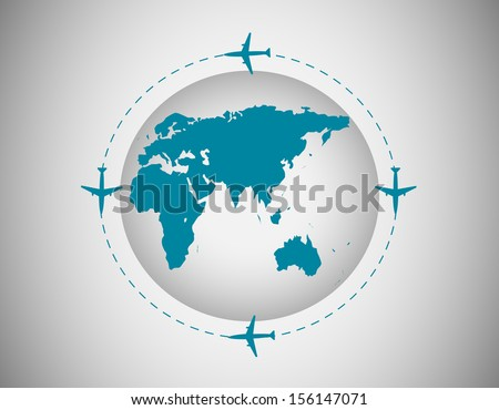 Airplanes around the world - stock vector
