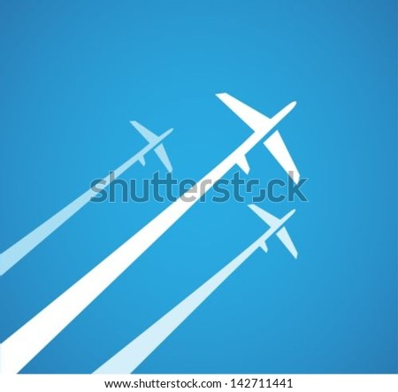 Airplanes background - stock vector