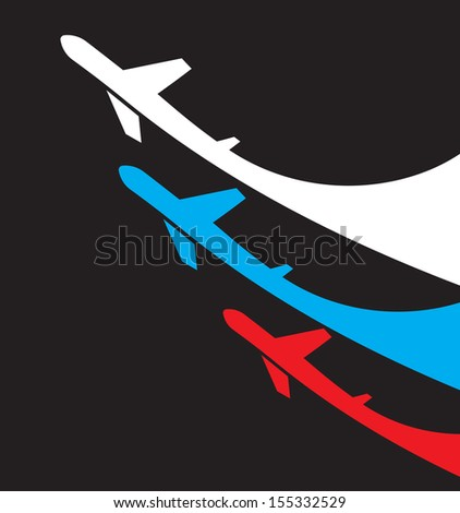 Airplanes background with Russian flag - stock vector