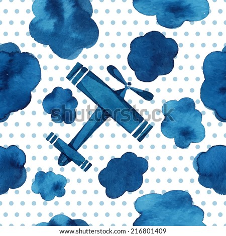 Airplanes, gliders, clouds, sky, small circles, watercolor pattern, seamless background.  - stock vector