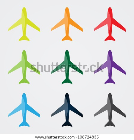 Airplanes in Different Colors - stock vector