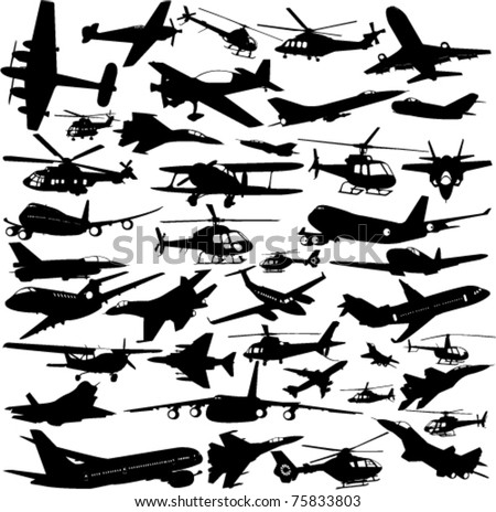 airplanes,military airplanes,helicopter collection - vector - stock vector