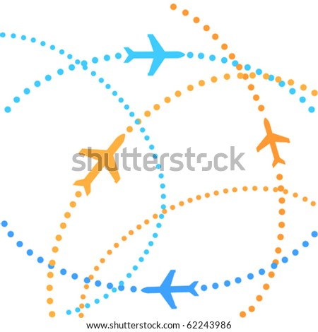 Airplanes on their destination routes - stock vector
