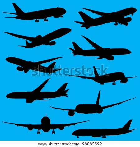 Airplanes silhouettes part 2 - stock vector