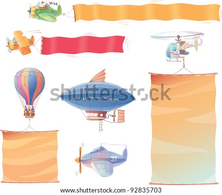 Airplanes, the dirigible, the hot air balloon and the helicopter are flying in the air with the banners. - stock vector