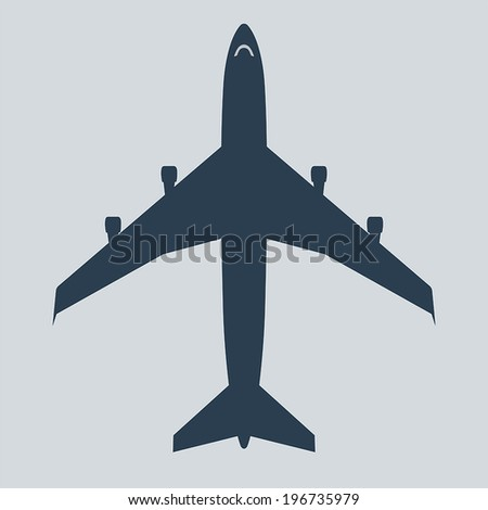 Airplanes top icon vector on gray background - stock vector