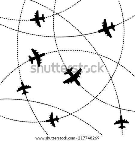 Airplanes White Background with Trajectory. Vector Illustration