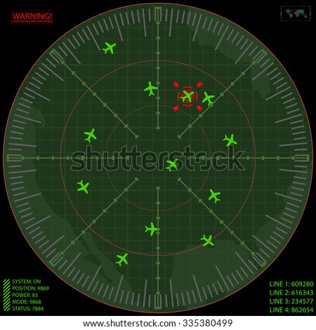 Airport Air Traffic Control Radar Screen with Planes on a Gri - stock vector