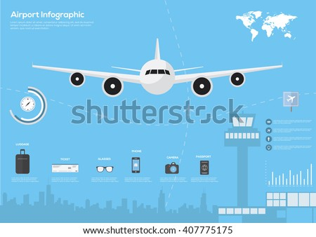 Airport, air travel infographic with design elements. Infographic data. Vector illustration  - stock vector