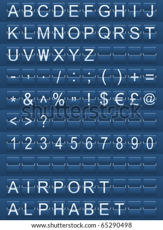 airport alphabet blue - stock vector