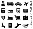 Airport and air travel icon set - stock photo