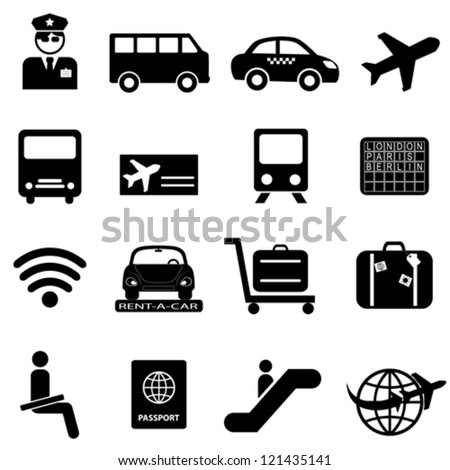 Airport and air travel icon set - stock vector