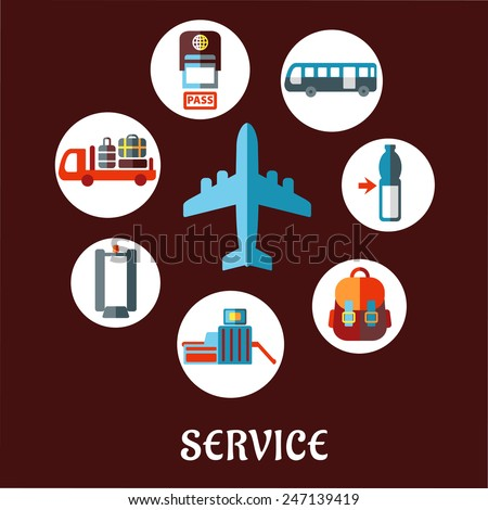 Airport and airline service flat concept with airplane surrounded white circles depicting passport control, metal detector, security gate, baggage service, passenger bus, drink, hand baggage - stock vector