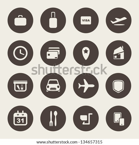 Airport and airlines services icons - stock vector