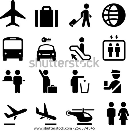 Airport and travel icon set.