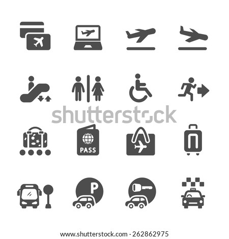 airport and travel icon set, vector eps10. - stock vector