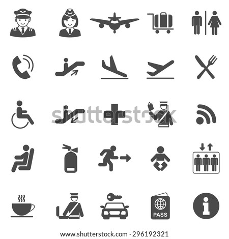 Airport black icons set.Vector - stock vector