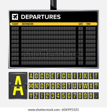 Airport Board Vector Mechanical Flip Airport Stock Vector