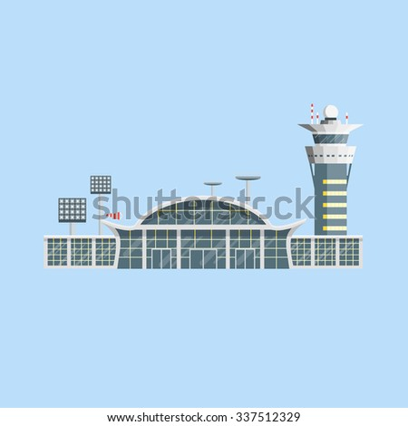 Airport building with control tower. Flat design. Vector Illustration.  - stock vector