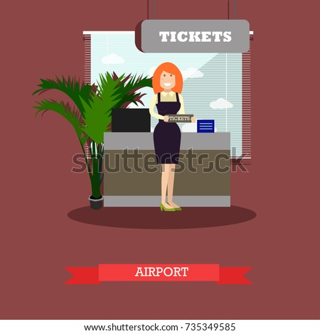 Airport concept vector illustration in flat style. Ticket agent standing in front of ticket counter flat style design element.