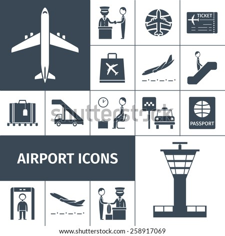 Airport decorative icons black set with lounge boarding custom and baggage check elements isolated vector illustration - stock vector