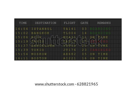 Airport departures board , Departure schedule screen , Digital colorful airport board template vector illustration