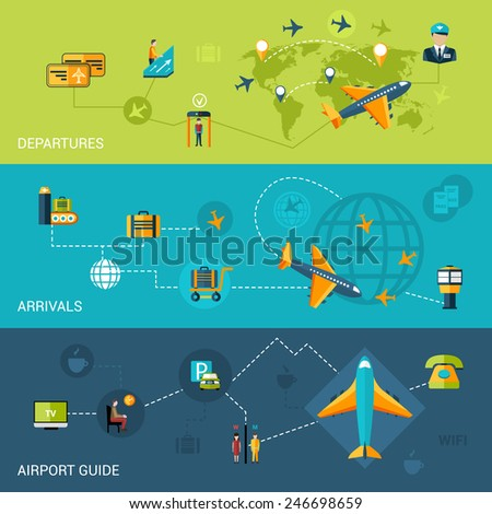 Airport flat banners set with departure arrival guide elements isolated vector illustration - stock vector