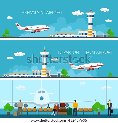 Airport Horizontal Banners, Arrivals at Airport, Departures from Airport, a Waiting Room with People, Travel Concept, Flat Design,  Vector Illustration - stock vector