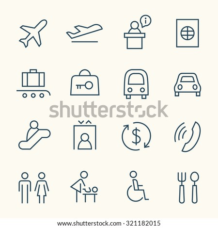 Airport icon set - stock vector