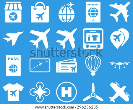 Airport Icon Set. These flat icons use white color. Vector images are isolated on a blue background. - stock vector