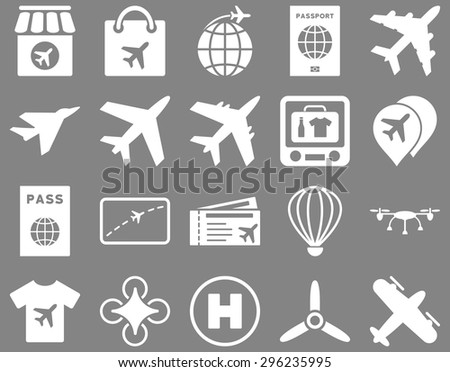 Airport Icon Set. These flat icons use white color. Vector images are isolated on a gray background. - stock vector