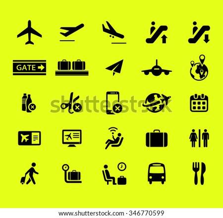 Airport icon vector set - stock vector