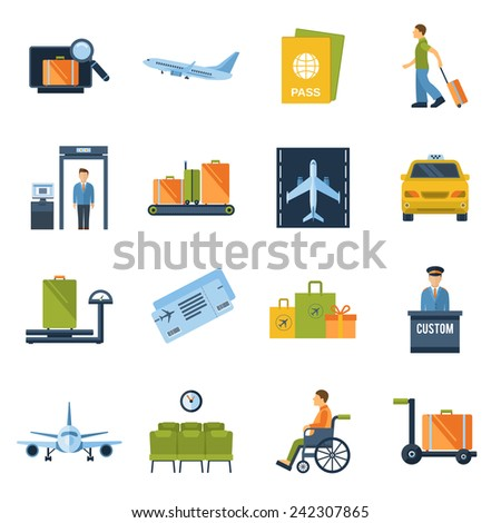 Airport icons flat set with baggage check airplane security control isolated vector illustration - stock vector
