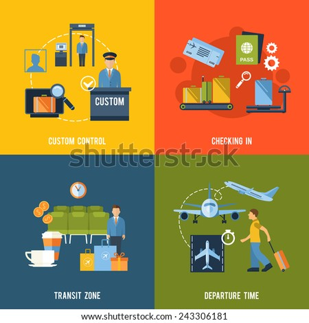 Airport icons flat set with custom control checking in transit zone departure time isolated vector illustration - stock vector